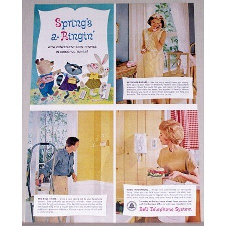 1962 Bell Telephone System Color Print Ad - Spring's A-Ringin