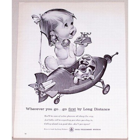 1961 Bell Telephone System Baby Betsy Bell Art Vintage Print Ad