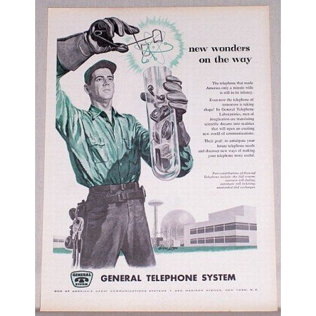1957 General Telephone System Vintage Print Ad - Wonders On The Way