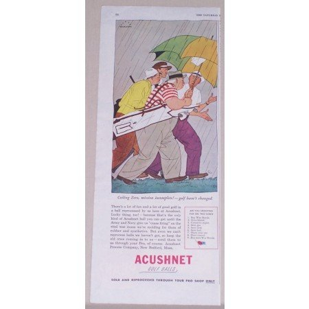 1945 Acushnet Golf Balls Color Beckhoff Art Color Print Ad