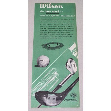 1946 Wilson Golf Equipment Color Print Ad - Balls Clubs Bags