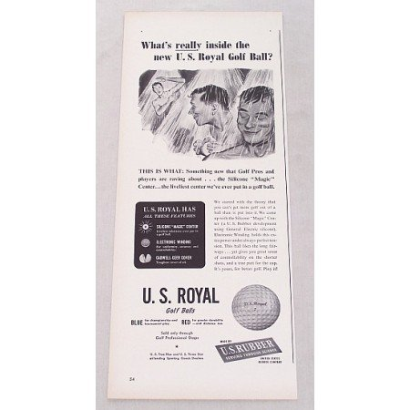 1948 U.S. Royal Golf Balls Vintage Print Ad - What's Really Inside