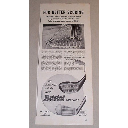 1948 Bristol Golf Clubs Vintage Print Ad - For Better Scoring