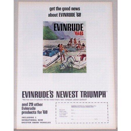 1968 Evinrude 55 HP Outboard Motor Color Print Ad