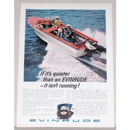 1961 Evinrude Starflite III Outboard Motor Color Print Ad