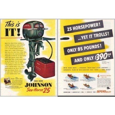 1951 Johnson Sea Horse 25 Outboard Motor 2 Page Color Print Ad