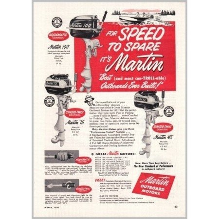 1951 Martin Outboard Boat Motors Vintage Print Ad - For Speed To Spar