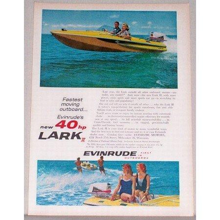 1960 Evinrude 40 Hp Lark II Outboard Motor Boat Color Print Ad