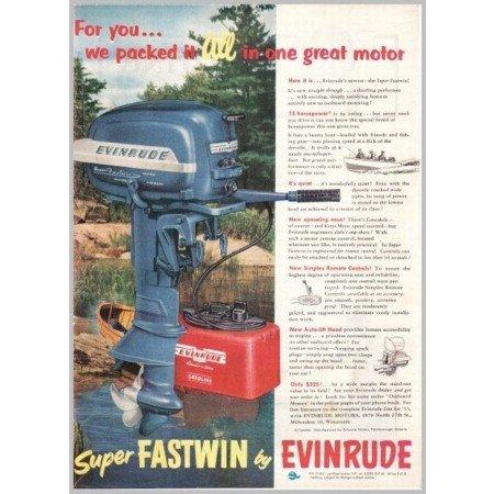 1952 Super Fastwin Evinrude Outboard Boat Motor Color Print Ad