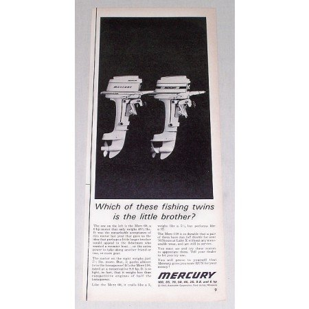 1962 Mercury Outboard Motor Vintage Print Ad - Fishing Twins