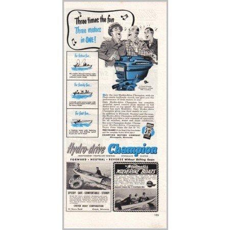 1951 Hydro-Drive Champion Outboard Boat Motor Color Print Ad