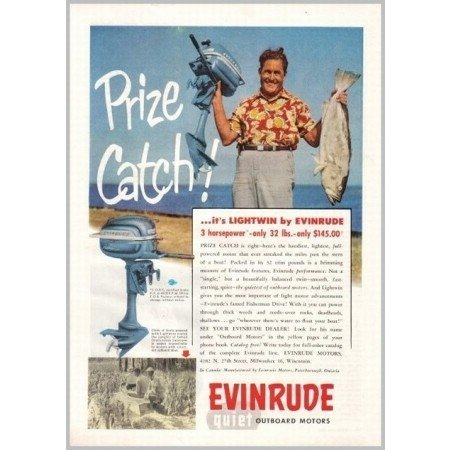 1953 Evinrude Lightwin 3HP Outboard Boat Motor Color Print Ad