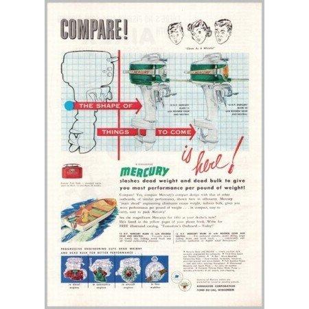 1953 Mercury Mark 15 20 Outboard Boat Motors Color Print Ad