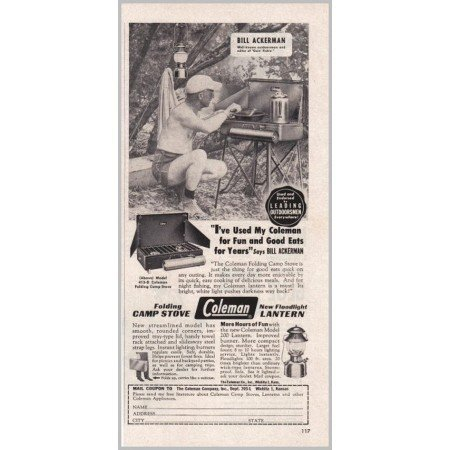 1951 Coleman Folding Camp Stove Floodlight Lantern Vintage Print Ad
