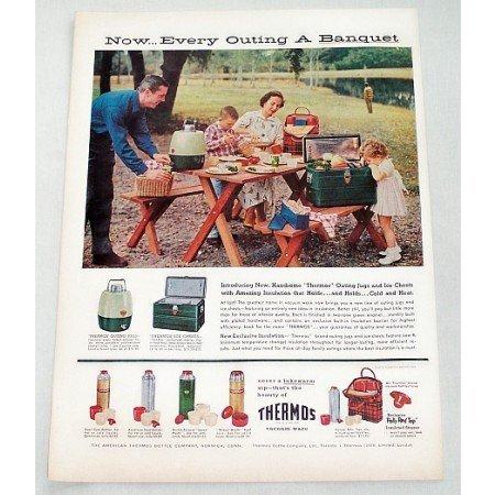 1956 Thermos Brand Vacuum Ware Picnic Color Print Ad