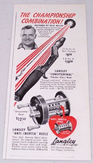 1951 Langley Anti-Inertia Reels Tubular Glass Rods Vintage Print Ad Fishing Celebrity Dick Miller