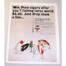1965 Wm Penn Cigars Fishing Lures Tackle Offer Color Print Ad