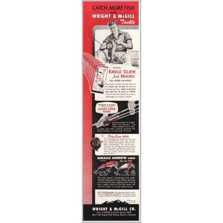 1951 Wright and McGill Miracle Minnow Lures Tackle Color Print Ad