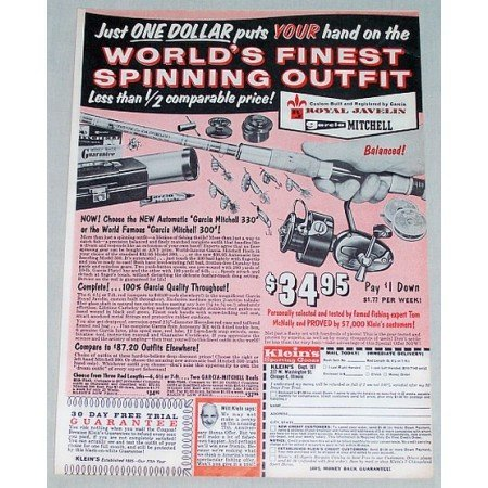 1961 Royal Javalin Garcia Mitchell Rod Reel Color Print Ad