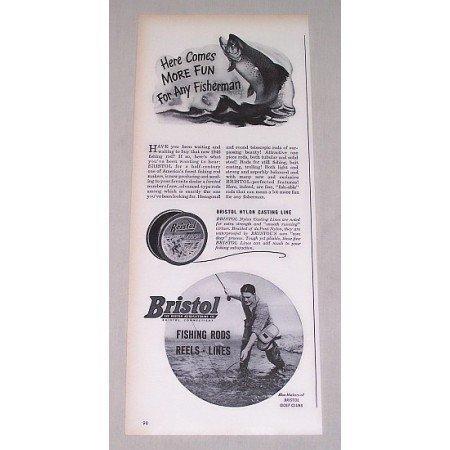 1946 Bristol Nylon Casting Line Fishing Vintage Print Ad