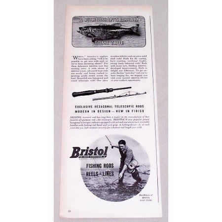 1946 Bristol Telescopic Fishing Rods Vintage Print Ad