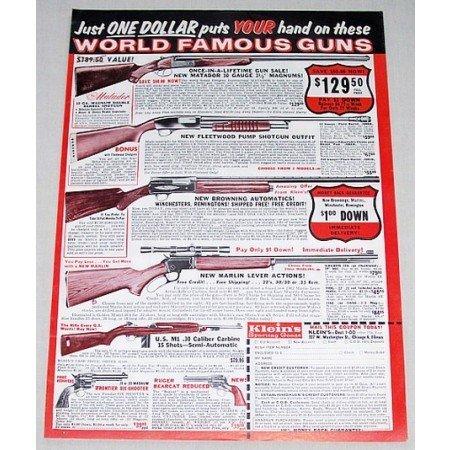 1961 Klein's Shotguns Browning Marlin Color Print Ad