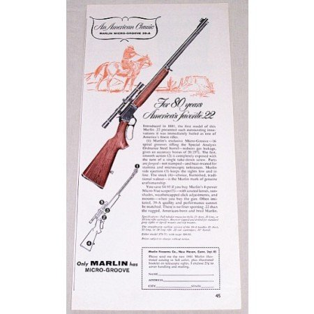 1961 Marlin Micro Groove 39-A .22 Vintage Print Rifle Ad - 80 Years