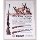 1962 Savage 99F & 99E Rifles Deer Art Color Print Ad