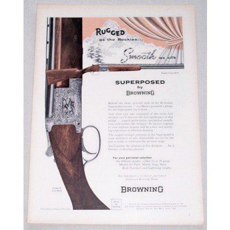1957 Browning Grade V Superposed Shotgun Color Print Ad