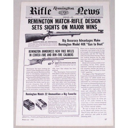 1961 Remington Rifle News Model 40X Rangemaster Vintage Print Ad