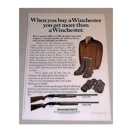 1969 Winchester Shotgun Models 1200 and 1400 Color Print Ad
