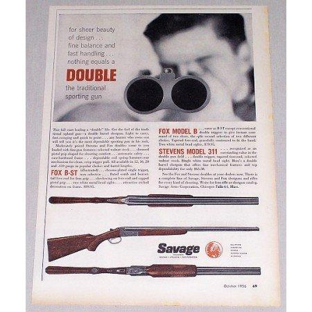 1956 Savage Stevens Fox Shotguns Color Color Print Ad