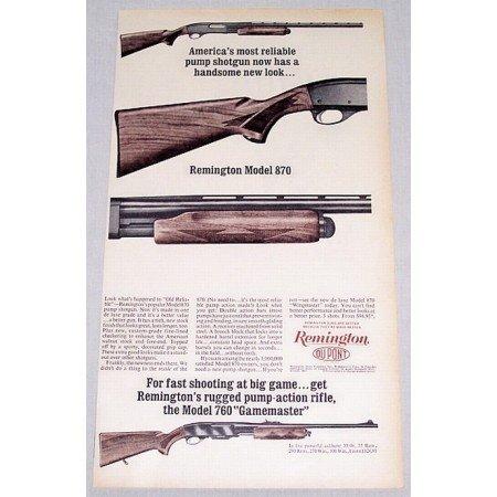 1961 Remington Model 870 and 760 Pump Shotguns Vintage Print Ad