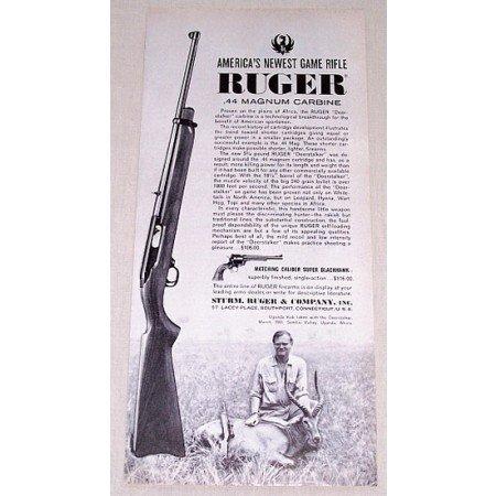 1961 Ruger .44 Magnum Carbine Game Rifle Vintage Print Ad