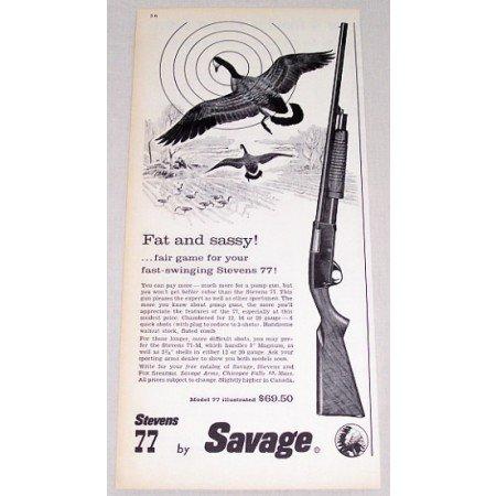 1961 Stevens Savage Model 77 Pump Shotgun Color Print Ad