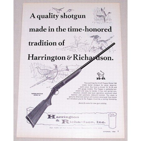 1966 Harrington & Richardson M-158 Topper SB Shotgun Vintage Print Ad