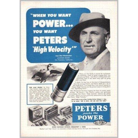 1952 Peters High Velocity Shotgun & Rifle Shells Vintage Print Ad