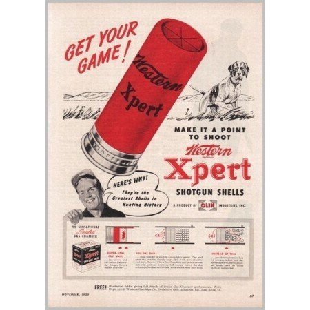 1950 Western Xpert Shotgun Shells Vintage Print Ad - Get Your Game
