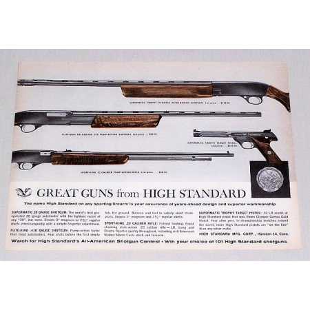 1964 High Standard Rifle Shotgun Pistol Color Print Ad