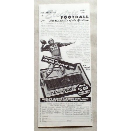 1949 Jim Prentice Electric Football Game Vintage Print Ad