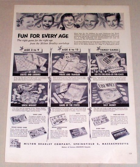 1953 Milton Bradley Board Games Vintage Print Ad
