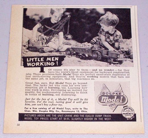 1954 Doepke Model Toys Crane Rocker Tractor Earth Moving Equipment Vintage Toy Print Ad