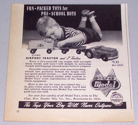 1954 Doepke Model Toys Clark Airport Tractor 2 Trailers Vintage Toy Print Ad