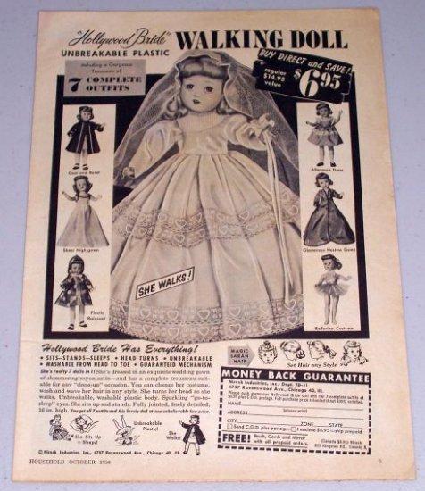 1954 Hollywood Bride Plastic Walking Doll Vintage Toy Print Ad