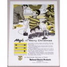 1955 National Electric Products Christmas Toy Train Set Color Print Art Ad
