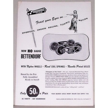 1952 Roadhouse HO Gauge Bettendorf Train Wheels Vintage Print Ad