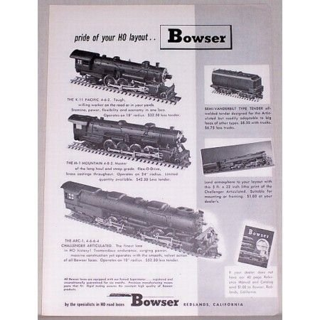 1952 Bowser HO Scale Locomotive Trains Vintage Print Ad