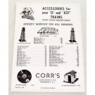 1950 Corr's O & .027 Scale Model Train Accesories Vintage Print Ad