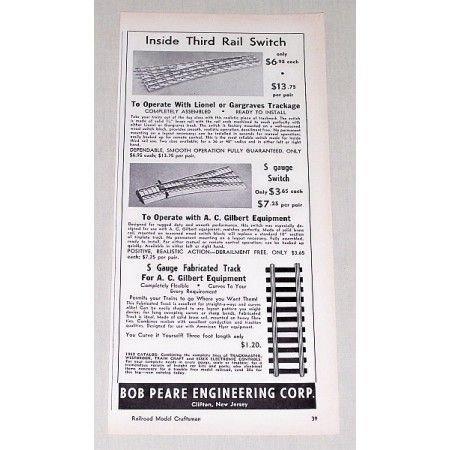 1951 Bob Peare Corp. Lionel AC Gilbert Track Vintage Print Ad