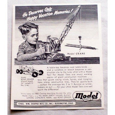 1949 Model Toys Pressed Steel Crane Toy Vintage Print Ad